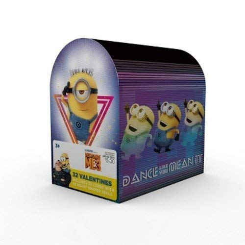 Despicable Me 3 Minions Valentine Cards for Kids with Seals and Mailbox - Pkg. of 32 -