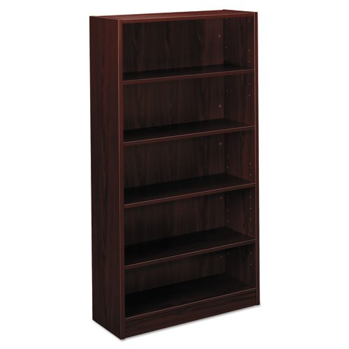 Basyx 5-Shelf Bookcase, 32 by 13-13/16 by 65-3/16-Inch, Mahongay by basyx by HON