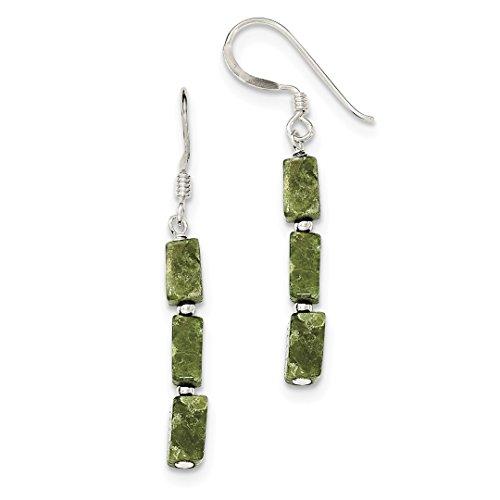 ICE CARATS 925 Sterling Silver Green Russian Serpentine Stone Drop Dangle Chandelier Earrings Fine Jewelry Ideal Gifts For Women Gift Set From (14k Serpentine Earrings)