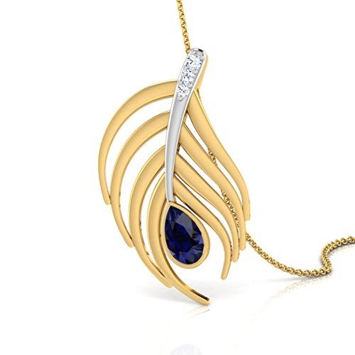 14K Or blanc 0,02ct tw Round-cut-diamond (IJ | SI) et saphir bleu Pendentif