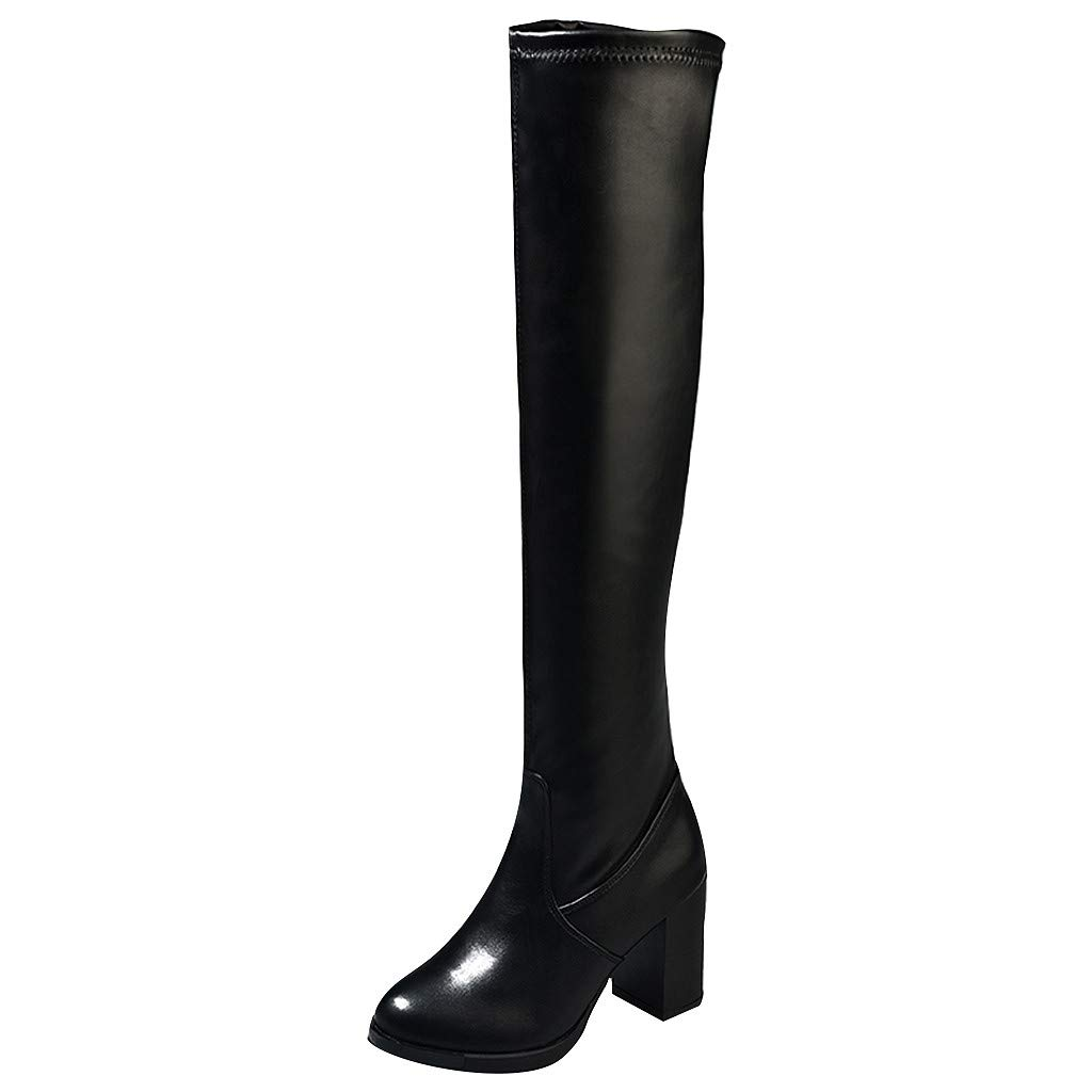 Women's Thigh High Boots Stretchy Over The Knee Chunky Block Heel Bootie Comfortable Riding Boot (US:6.5-7, Black-C)