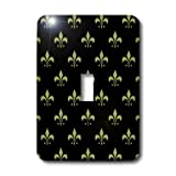 3dRose LLC lsp_22342_1 Gold Fleur De Lis on a Black Background Christian Saints Symbol, Single Toggle Switch