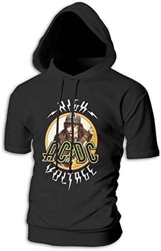Tシャツ シャツ ティーシャツ スウェットシャツ パーカー ストレッチ メンズ 半袖 フード付き ACDC エーシーディーシー スポーツtシャツ 吸汗速乾 トレーニング ジムtシャツ 通気性 黒