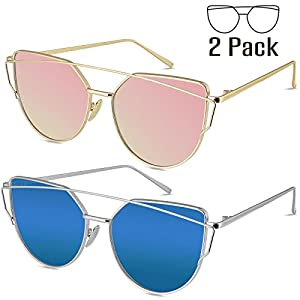 Livhò Sunglasses for Women, 2 Pack Cat Eye Mirrored Flat Lenses Metal Frame Sunglasses UV400 (Gold Pink + Silver Deep Blue)