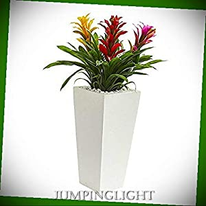 JumpingLight Triple Bromeliad in White Tower Planter, Multi Artificial Flowers Wedding Party Centerpieces Arrangements Bouquets Supplies 64