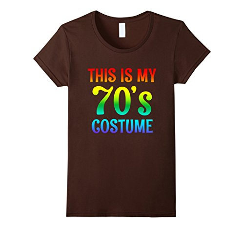 Womens 70s Costume Halloween Shirt for 1970s Party men women top Large Brown