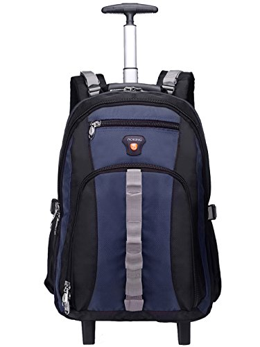 Aoking 20/22 Inch Water Resistant Travel School Business Rolling Wheeled Backpack with Laptop Compartment Sapphire Blue 20