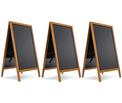 3 Set A-Frame Chalkboard - Magnetic Porcelain Steel Board - Durable Blackboard - Indoor & Outdoor Use - Sidewalk sign for Bars, Cafés, Events & Weddings by Jade Active