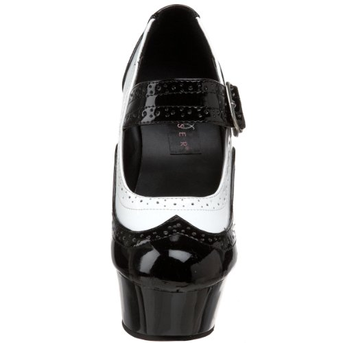 Pleaser DELIGHT-688 Damen Plateau Pumps, Blk-Wht Pat/Blk, 38 EU / 8 US