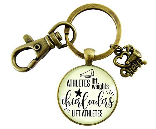 Male Cheer Keychain Athletes Lift Weights Cheerleaders Vintage Inspired School Spirit Sports Key Ring Men's Gift ()
