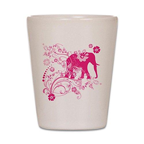 Elephant Shot Glass - CafePress - Elephant Swirls Pink - Shot Glass, Unique and Funny Shot Glass