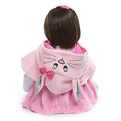 Reborn Baby Dolls Clothes Fit for 60CM 24 inch Reborn Toddler Girls Doll Handmade Cotton Pink Cat Outfit 4-Piece Set: Toys & Games