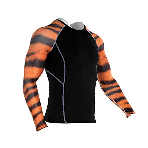 Men's Sports Compression Apparel Base Layers Workout Long Sleeve Shirt Peacock Pattern Tattoo Running Motion Training Sport Fitness