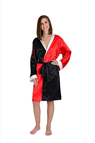 DC Comics Harley Quinn Costume Silky Satin Robe Cover-Up Black -
