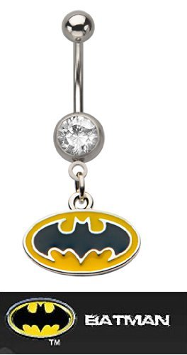 Amazon Com Batman Belly Ring 316l Surgical Stainless Steel With