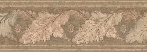 Wallpaper Border Leaves Beige Classic 15' x 7