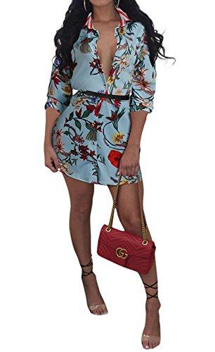 Manches Cocktail et Printemps Chemisiers Personnalit Femmes de Fashion Revers Automne JackenLOVE de Bleu 4 Impression Court Clair Robes 3 Robe Robe Fte Soire Plage UOqIxI5