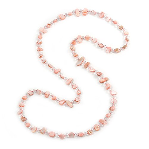 Long Pastel Pale Pink/ Transparent Shell Nugget and Glass Crystal Bead Necklace - 110cm L (Shell Nugget Beads)