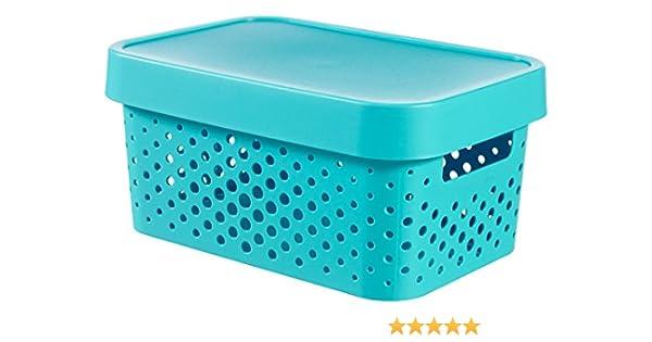 CURVER 04760-x34 – 00 Infinity Puntos Caja de almacenaje con Tapa plástico Azul 26,8 x 18,6 x 12,4 cm, 4,5 L: Amazon.es: Hogar