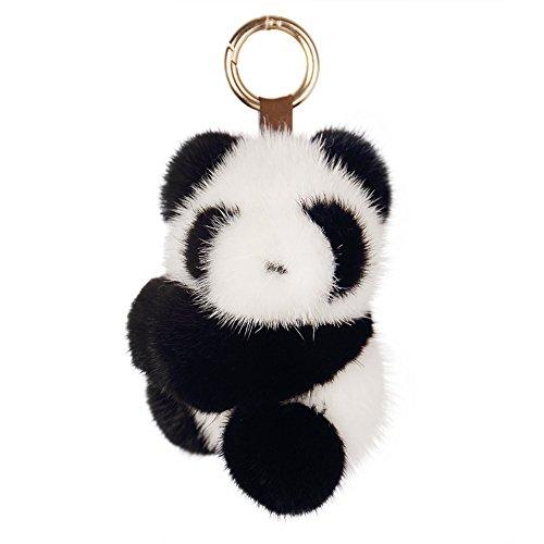SPRINGWIND Panda Real Mink Fur Pom Keychain Fluffy for Women Bag Car Decoration
