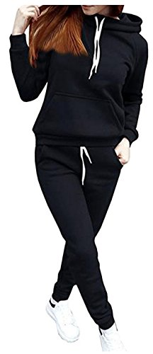 - SUKIYAKI Women Jogger Outfit Matching Sweat Suits Long Sleeve Hooded Sweatshirt and Sweatpants 2 Piece Sports Sets (S, Black)
