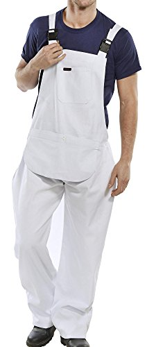 Click Cotton Drill Painter Bib & Brace Overall White - (Drill Cotton Overalls)