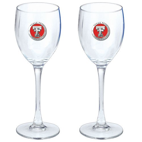 TEXAS TECH UNIVERSITY 2PC WINE GLASS GOBLETS, 12OZ, WITH PEWTER LOGO (Glassware Texas Tech)