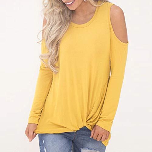 Epaule Tops Longues Chemise Yellow Froide Chemisier Solide Ourlet Nou Manches Femme zg7qIn