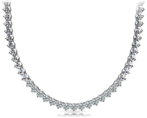 (7.00 Ct Ladies Round Cut Diamond Tennis Necklace In 14 Kt White Gold)