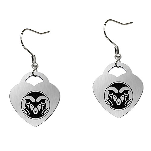 Colorado State Rams Satin Finish Large Stainless Steel Heart Charm Earrings - See Model for Size Reference by College Jewelry