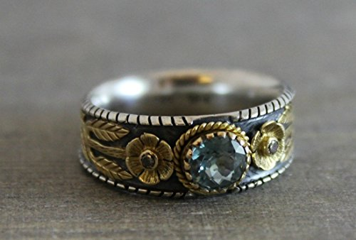 Tourmaline Oxidized Sterling Silver Mixed Metals 18kt Yellow Gold Ring, Size 7 Graduation gift (18kt Diamond Flower)