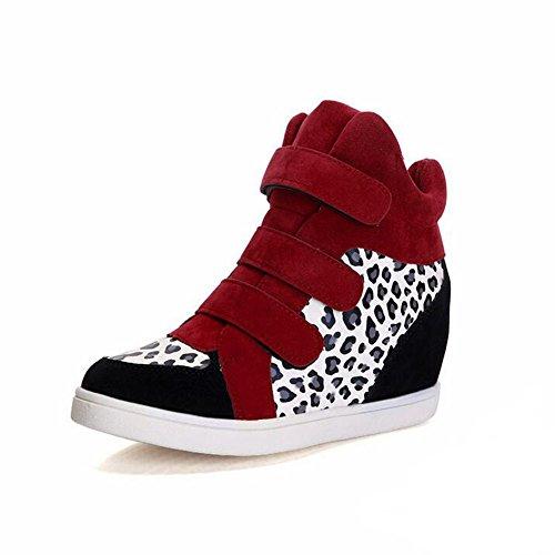 Pp Mode Kvinna Leopard Kilar Gömda Häl Gymnastikskor Mode Platåskor Röd