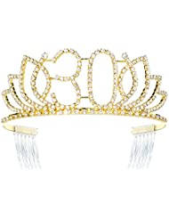 DcZeRong Queen 30 Birthday Tiara Women 30th Birthday Crown Gold Rhinestone Crystal Diamond Crown