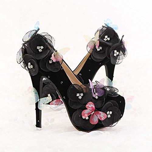 Dimensione Platform Pumps Wedding colore Evening 5 on Uk Lace Flowers 5 Hidden Butterfly Satin Ladies Qiusa Slip Black wI7nqTTR