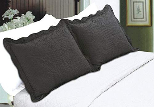 ALL FOR YOU 2-Piece Embroidered Quilted Pillow Shams-Standard Size (Charcoal)