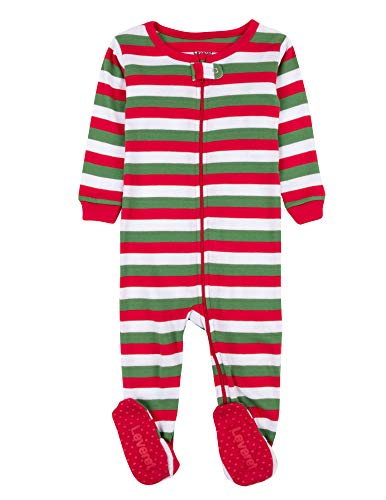 Green Christmas Pajama - Leveret Striped Baby Boys Girls Footed Pajamas Sleeper 100% Cotton Kids & Toddler Christmas Pjs (0-3 Months, Red White & Green)