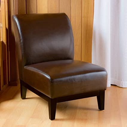 Charming Brakar Brown Leather Armless Chair