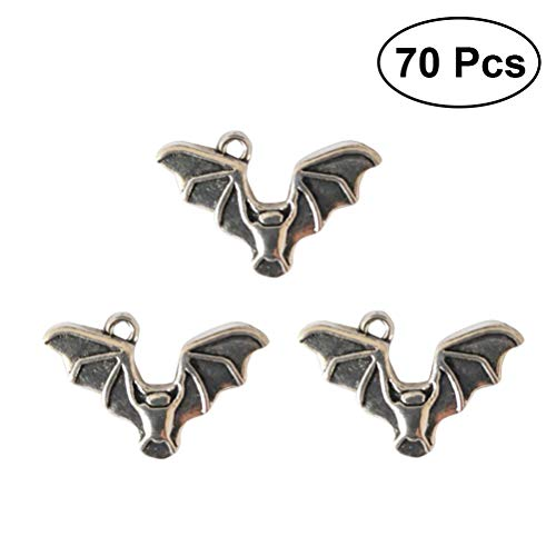 ULTNICE Alloy Charm DIY Antique Silver Bats Charms Pendants Halloween Collection for DIY Crafting Jewelry Findings Necklace Bracelet Making Accessory 70PCS (Bat Charms Pendants)