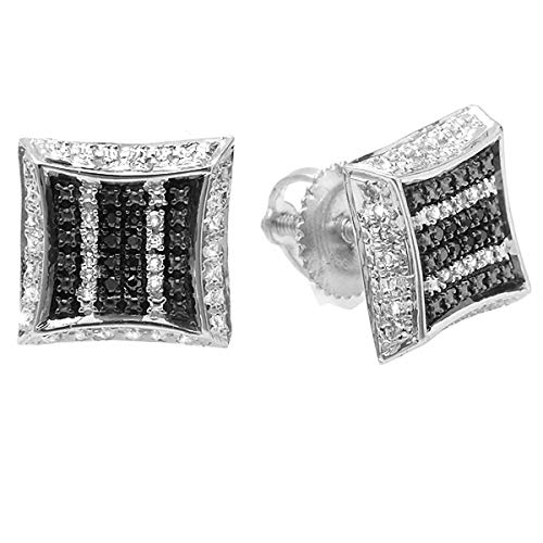 - Dazzlingrock Collection 0.10 Carat (ctw) White & Black Round Diamond Micro Pave Setting Kite Shape Stud Earrings 1/10 CT, Sterling Silver