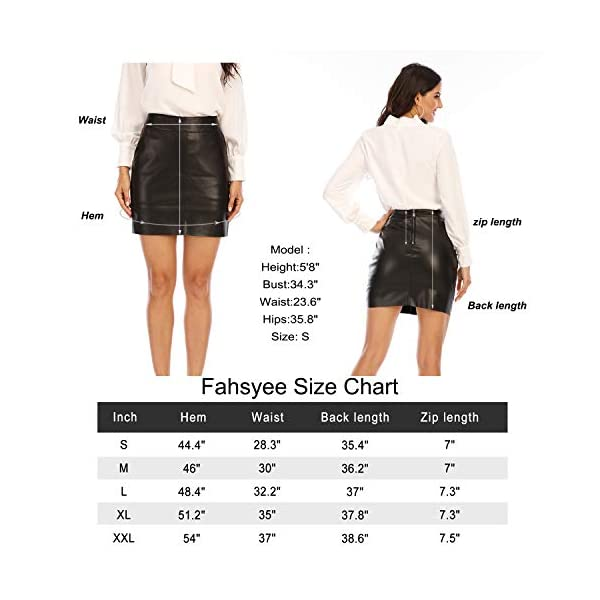 Fahsyee Women's Faux Leather Skirt, Hip High Waisted Stretchy Zipper Mini A-Line Pencil Short Plus Size S-XXL