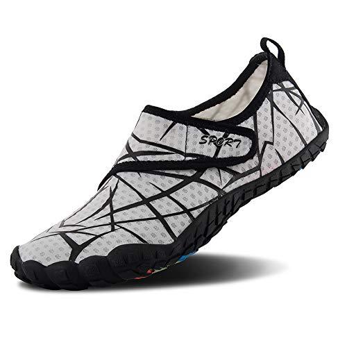 FEIFAN Men Women Water Shoes Quick Dry Adult Beach Swim Barefoot Lightweight Water Shoes Light Grey 01 42