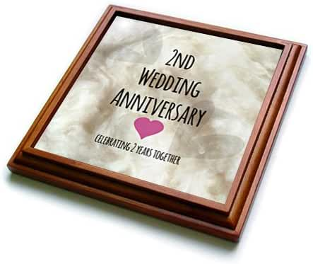 3dRose trv_154429_1 2Nd Wedding Anniversary Gift-Celebrating 2 Years Together-Second Two Yrs Trivet with Ceramic Tile, 8 by 8