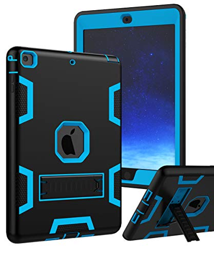 TIANLI Case for iPad Air Three Layer Plastic and Silicone Protection Heavy Duty Shockproof Protective Cover for iPad Air 9.7 inch - Black Blue