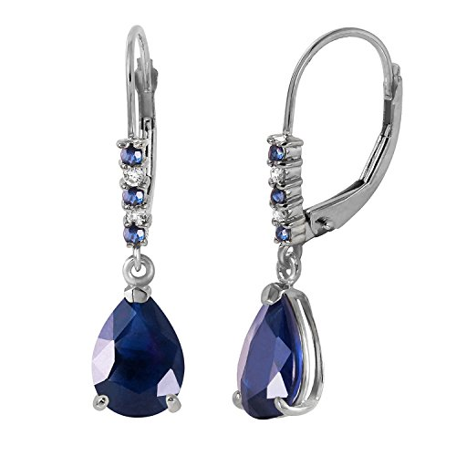 Leverback Earrings with Natural Diamonds and Sapphires ()