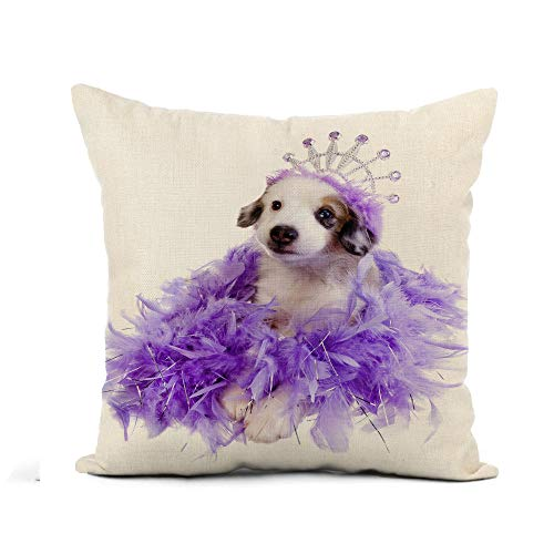 Awowee Flax Throw Pillow Cover Cute Purple Princess Miniature Australian Shepherd Puppy Wearing Tiara 16x16 Inches Pillowcase Home Decor Square Cotton Linen Pillow Case Cushion Cover