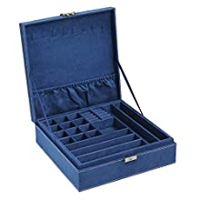 SONGMICS Large Jewelry Box with a Removable Tray and Compartments for Earrings, Necklaces, Bracelets, Dark Blue