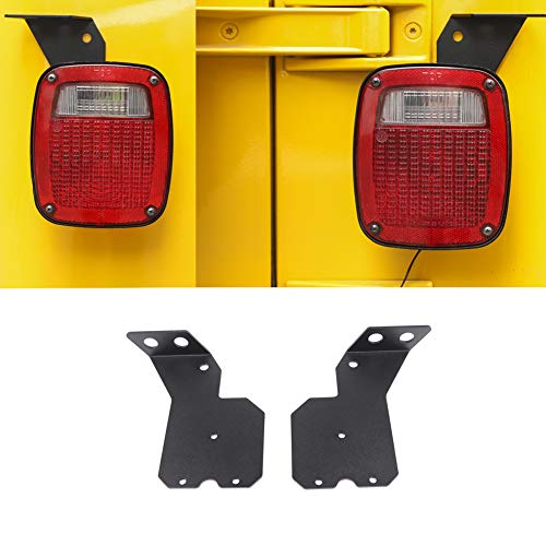Aluminum Alloy Black Car Rear Tail Light Lamp Antenna Bracket,Taillight Antenna Holder Trim Cover Decoration for Jeep Wrangler TJ 1997-2006