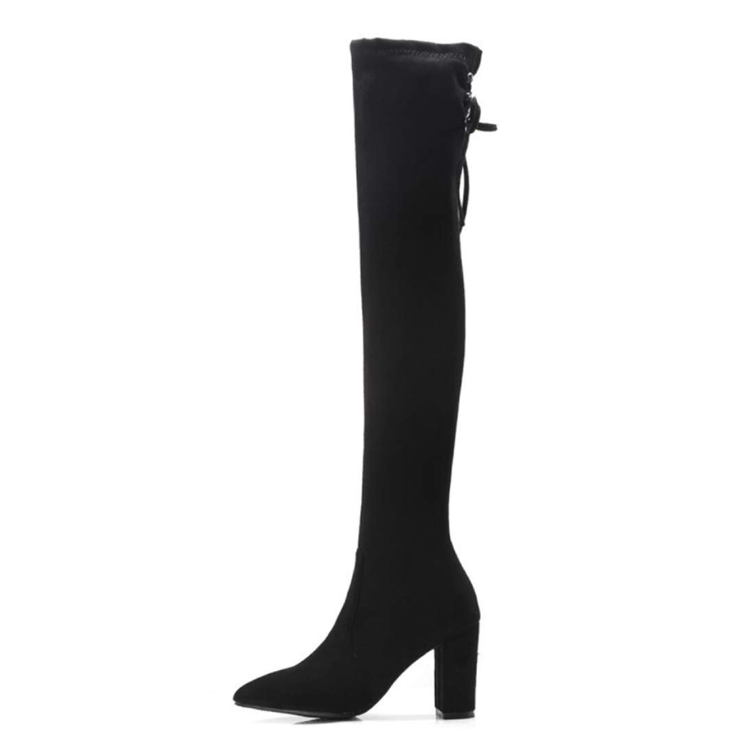 DANDANJIE Damen Stiefel Chunky Heel Spitz Kniehohe Stiefel Herbst Herbst Herbst Winter Mode Schuhe 2bcb93