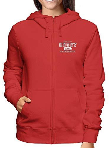 Rossa Zip E Donna University Trug0158 Logo Rugby Cappuccio Felpa T shirtshock YZnR44F