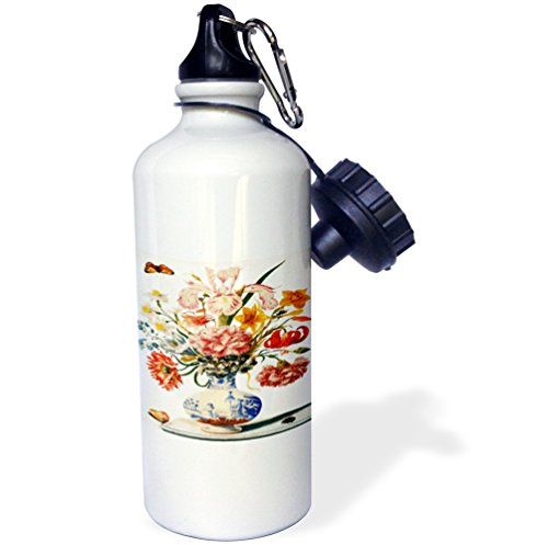3dRose wb_163360_1 Image of Vintage Maria Merian Oriental Bouquet with Butterfly in Vase Sports Water Bottle, 21 oz, White - Bouquets Images